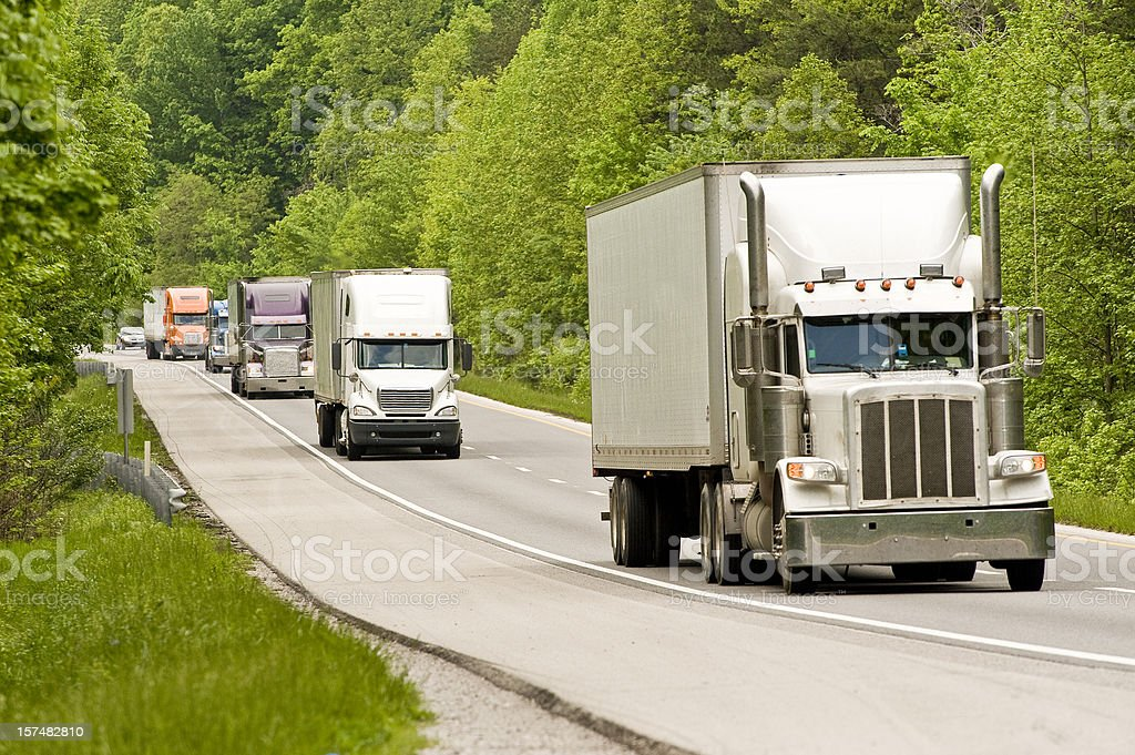 Semi Trucks On The Interstate royalty-free stock photo