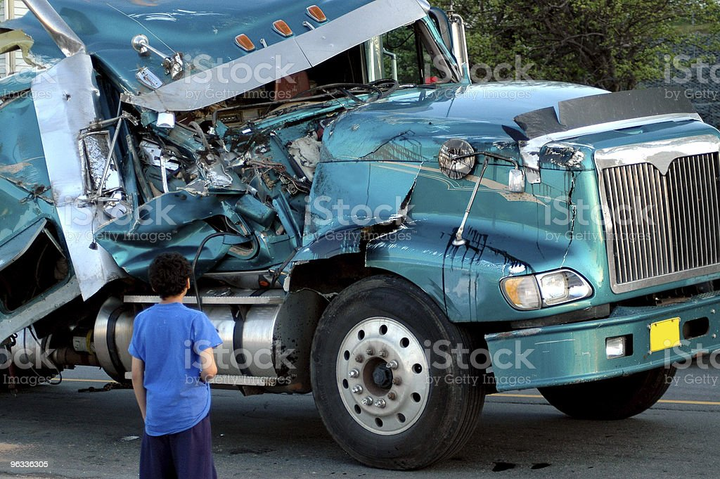 Semi Wreck stock photo