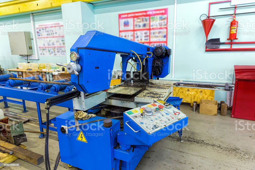 Semi-auto band saw in mechanical workshop stock photo
