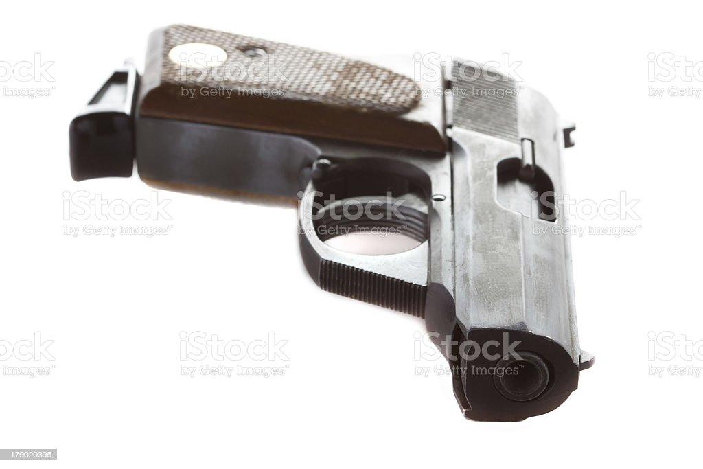 Semi-automatic gun isolated on white background royalty-free stock photo