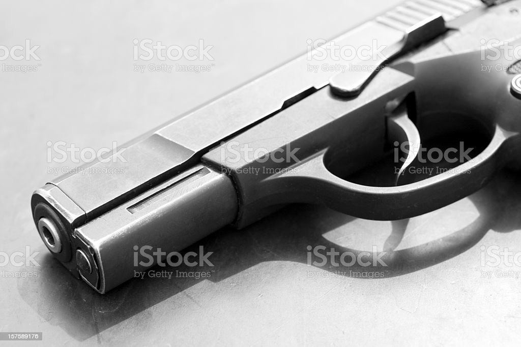 B&W Semi-Automatic Handgun Pistol royalty-free stock photo
