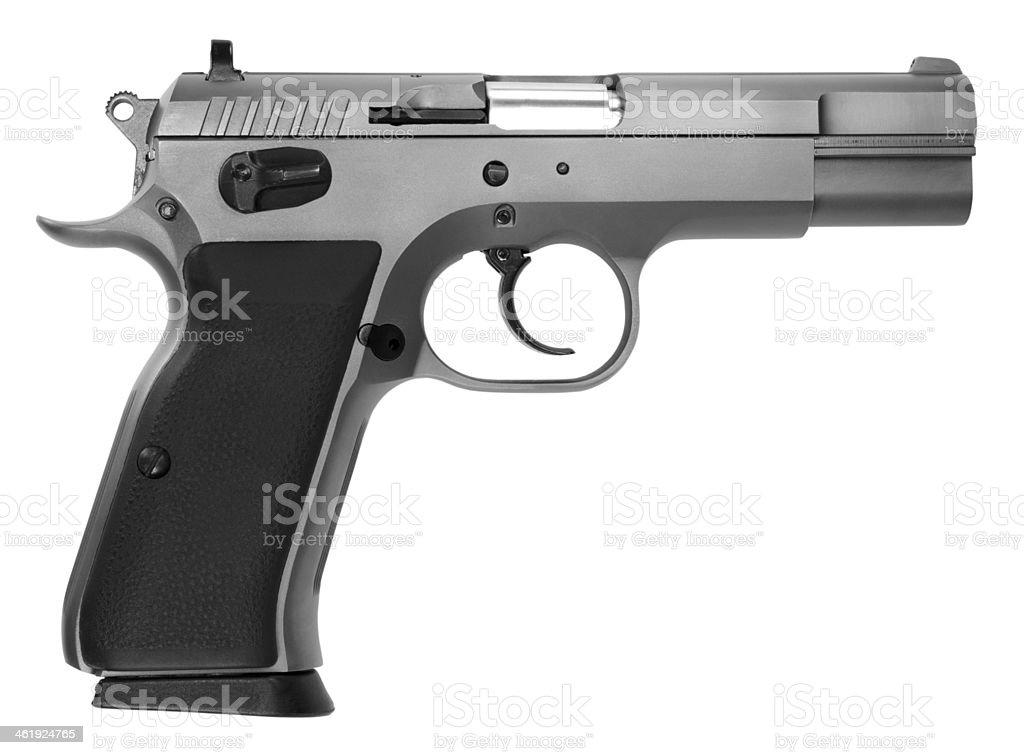 Semiautomatic pistol isolated on white background stock photo