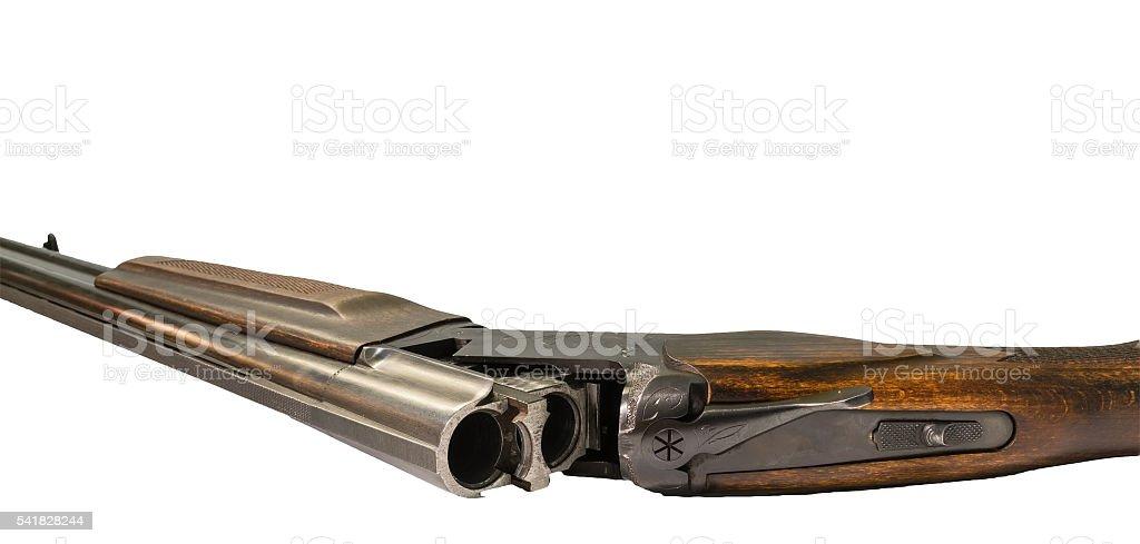 semi-automatic pump action shotgun isolated on white stock photo