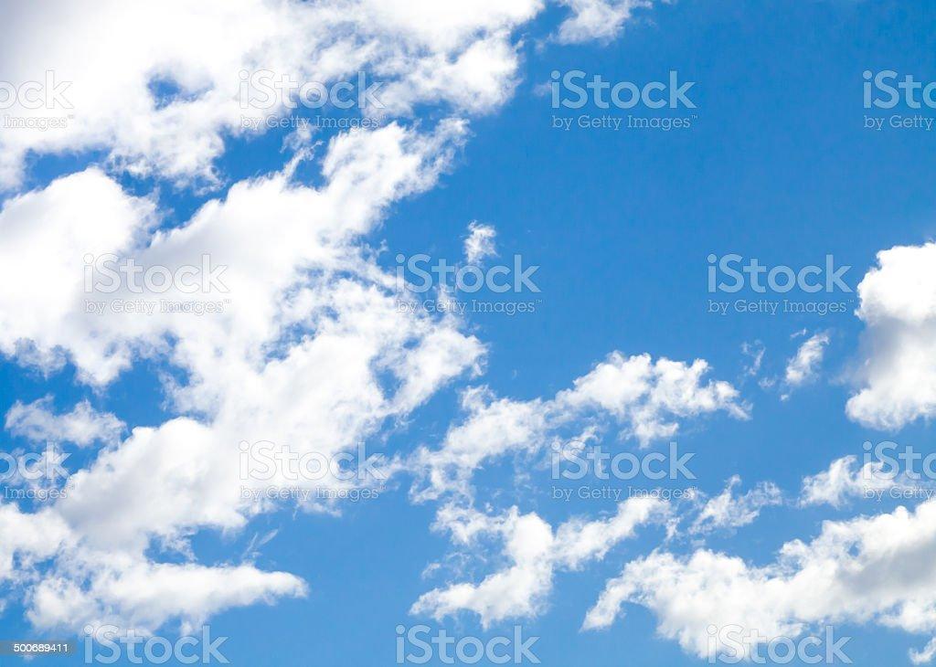 Semi-circle of Fair Weather Cumulus humilis Clouds stock photo