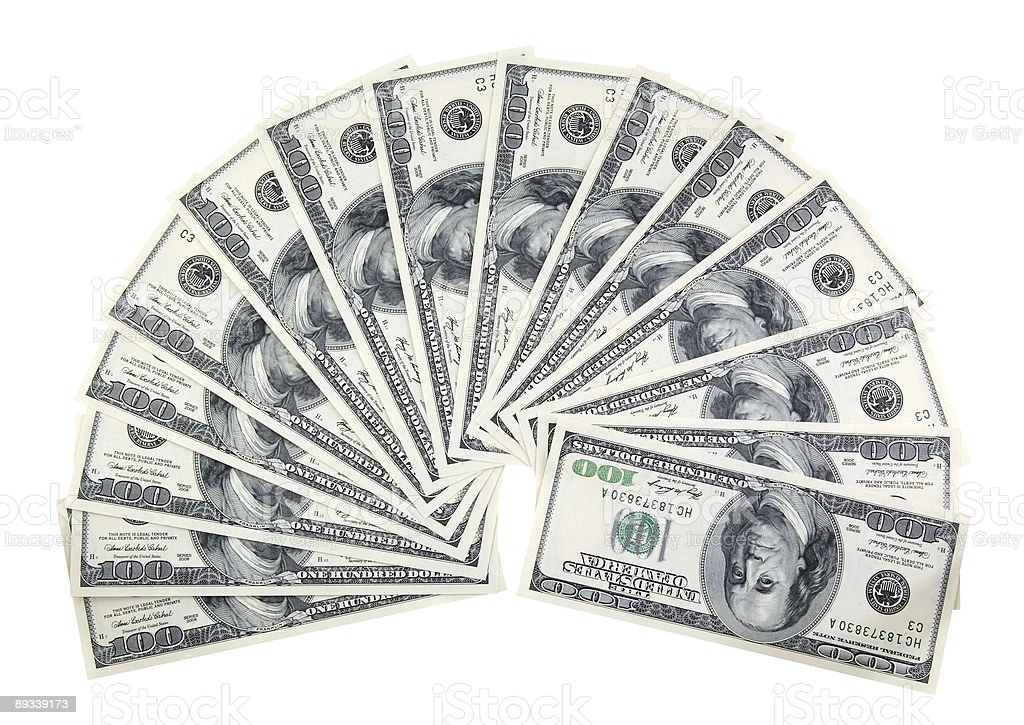 semicircle of one hundred dollars bills royalty-free stock photo