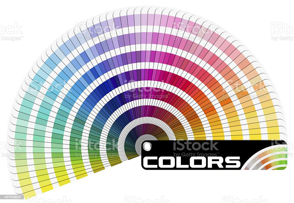A semicircle of paint color swatches stock photo