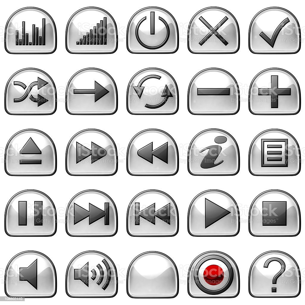 XXXL Semicircular grey Control panel icons or buttons stock photo