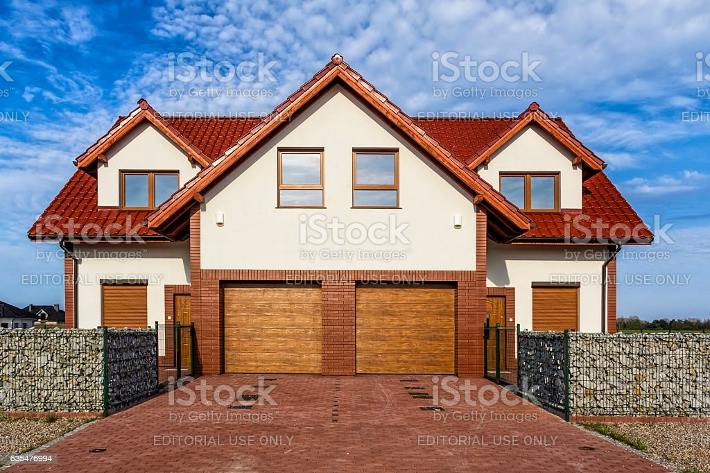 Semi-detached residential house in the suburb stock photo