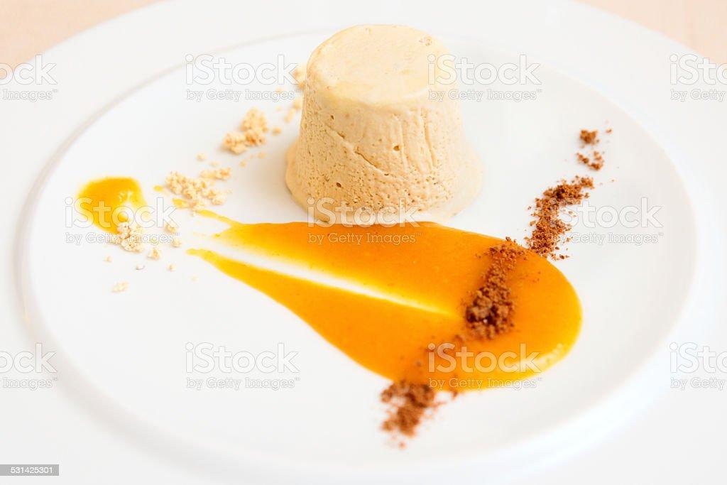 Semifreddo dessert in plate, close-up stock photo