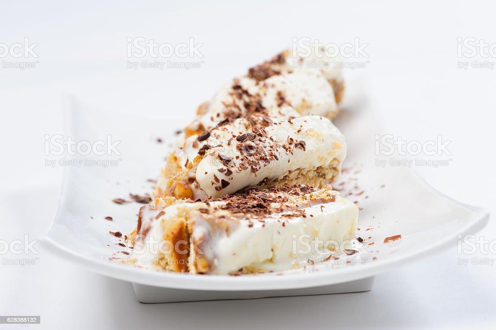 Semifreddo dessert with ice cream and cookies stock photo