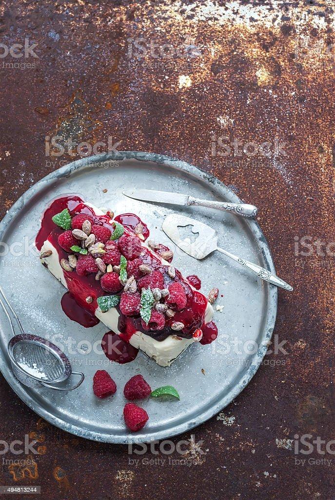Semifreddo or italian cheese ice-cream dessert with pistachios, fresh stock photo