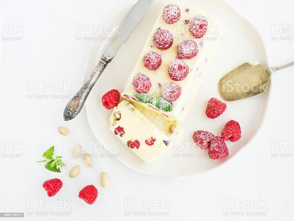 Semifreddo (italian cheese ice-cream dessert) stock photo