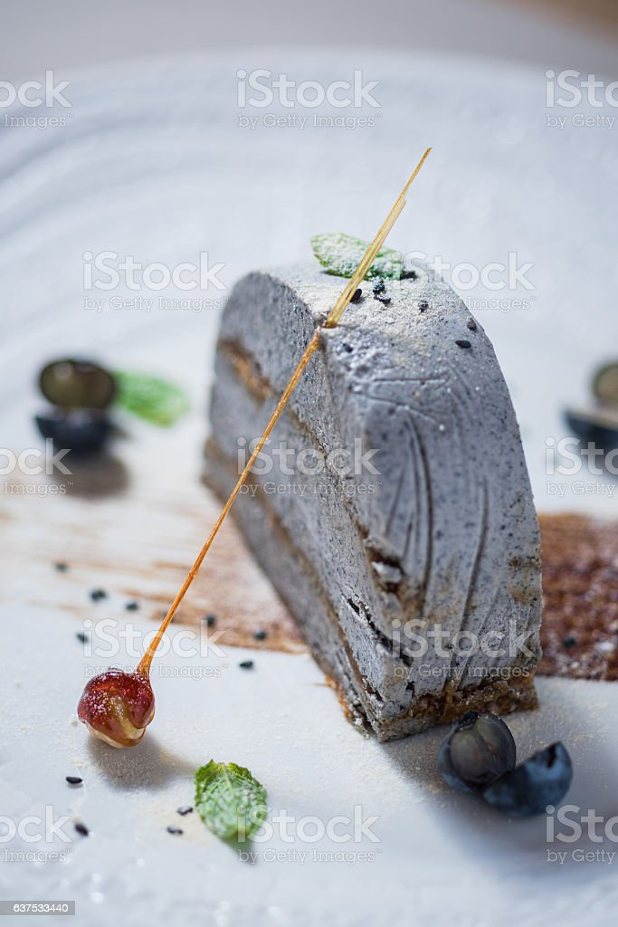 Semifreddo with caramelized sesame seeds stock photo