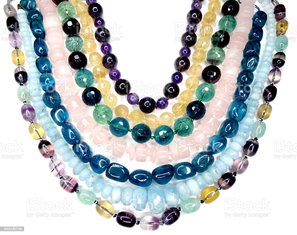 semigem necklace with bright crystals jewelry stock photo
