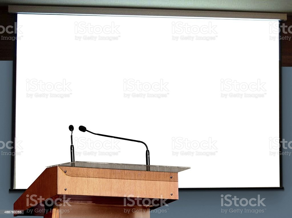 Seminar Podium with Blank Screen stock photo