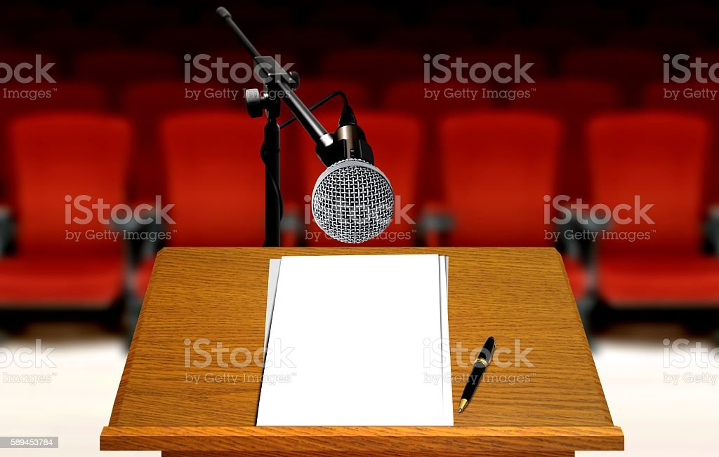 seminar preparation with microphone and podium stock photo