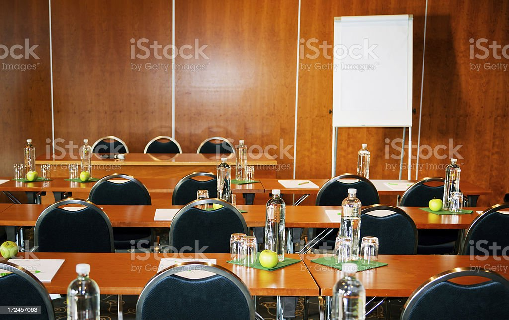 seminar room with refreshments royalty-free stock photo