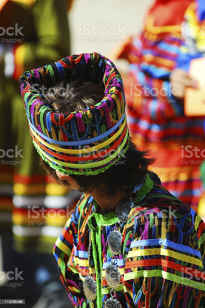 Seminole child in typical fancy dress outfit stock photo