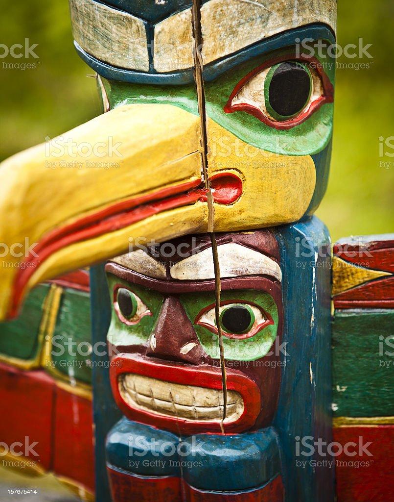seminole indian totem in the florida everglades stock photo