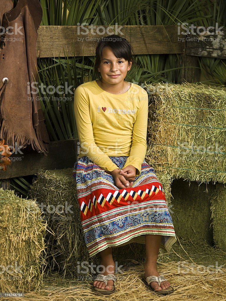 Seminole Little Cowgirl royalty-free stock photo