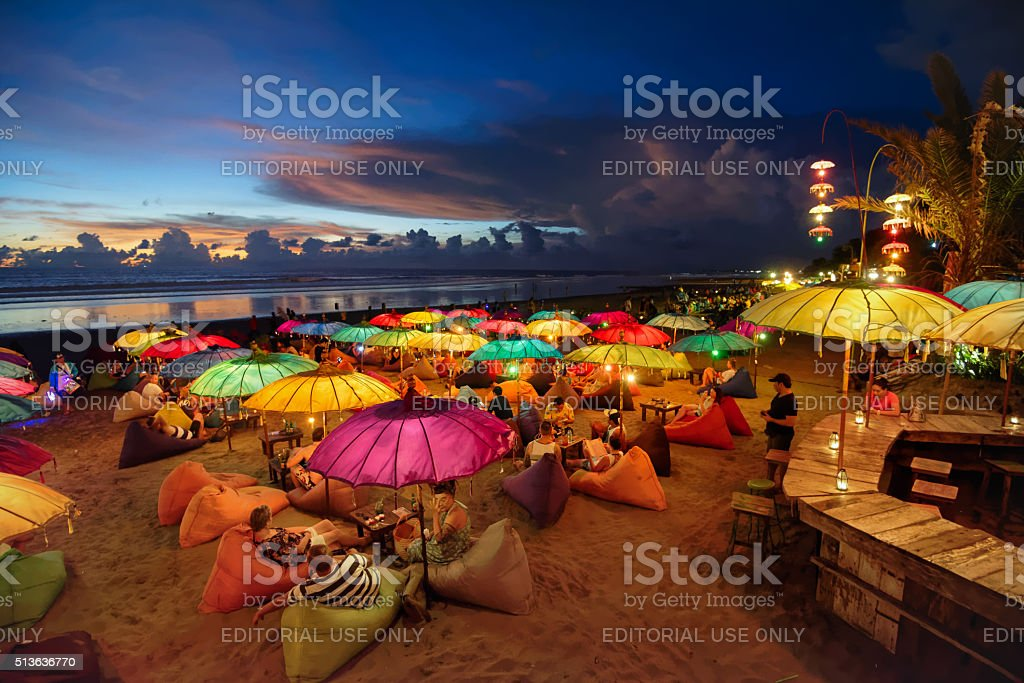 Seminyak beach at dusk stock photo