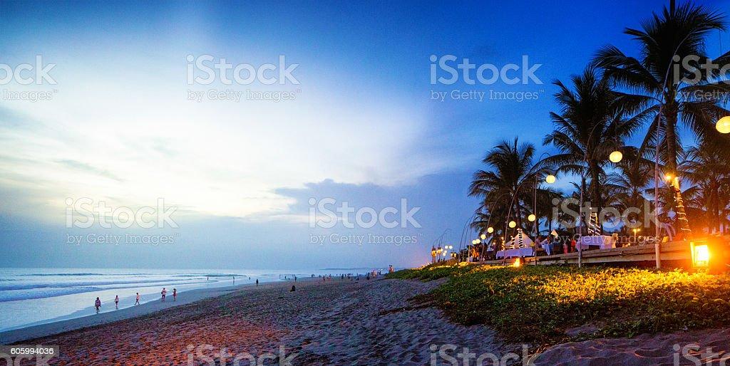 Seminyak Denpasar Bali Indonesia beach scene at sunset stock photo