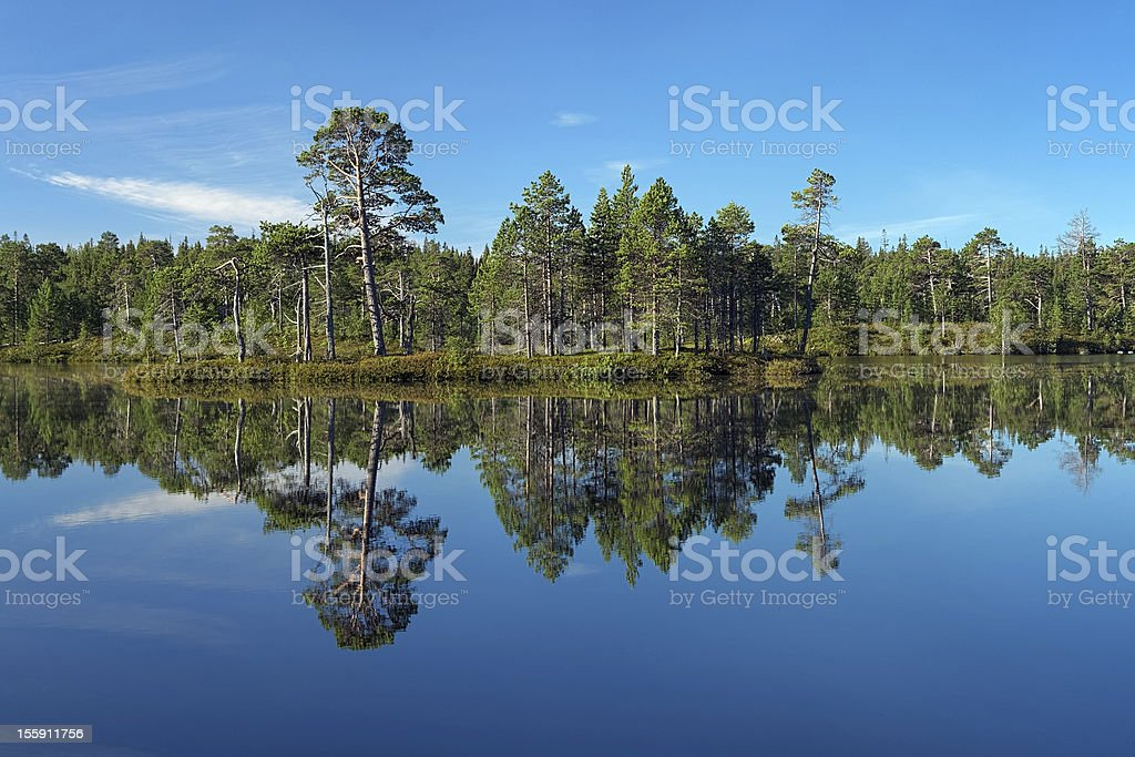 Semiostrovnoe Lake on Bolshoy Solovetsky Island, Russia stock photo