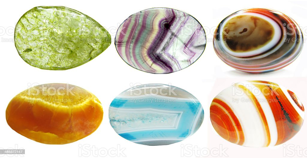 semiprecious crystals geological minerals set stock photo