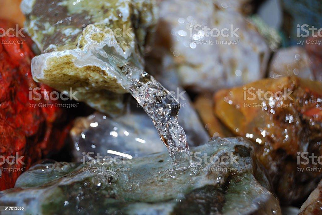 Semi-precious gems,minerals and water stock photo