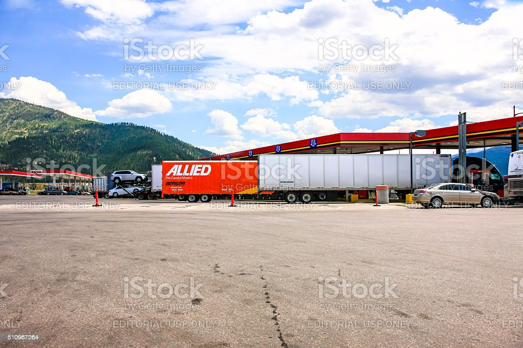 Semi's refuelling at a truck stop on I-90 in Montana stock photo