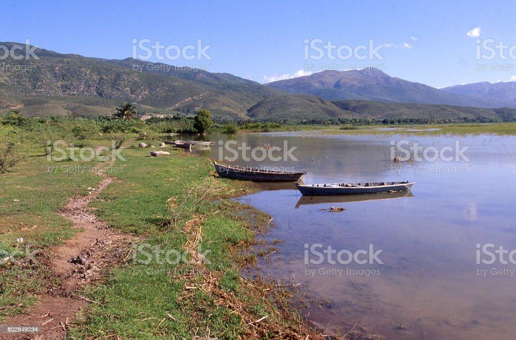 Semi-saline lake north of Port-au-Prince Haiti on route to Thomazeau where flamingos nest at certain seasons stock photo