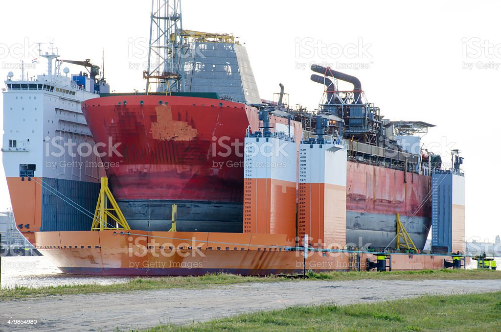 Semi-submersible heavy superstructure lift ship. stock photo