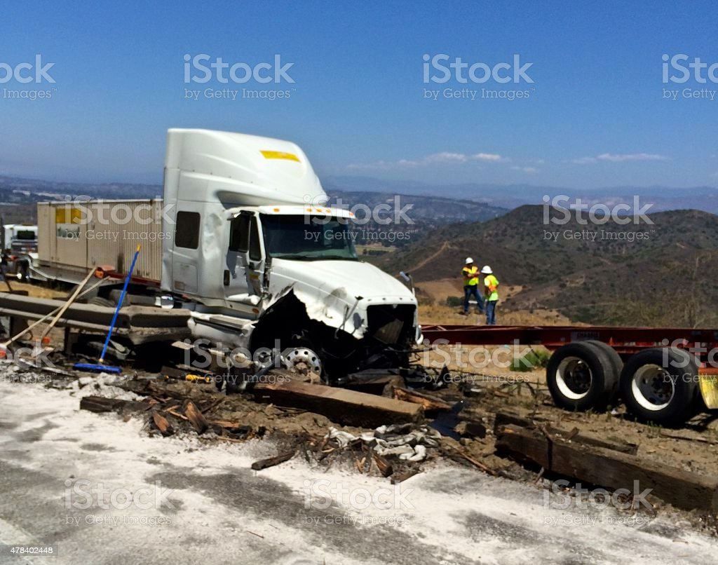 Semi-Truck Accident stock photo