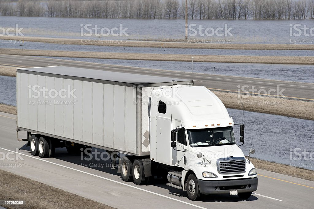 semi-truck and flood water royalty-free stock photo