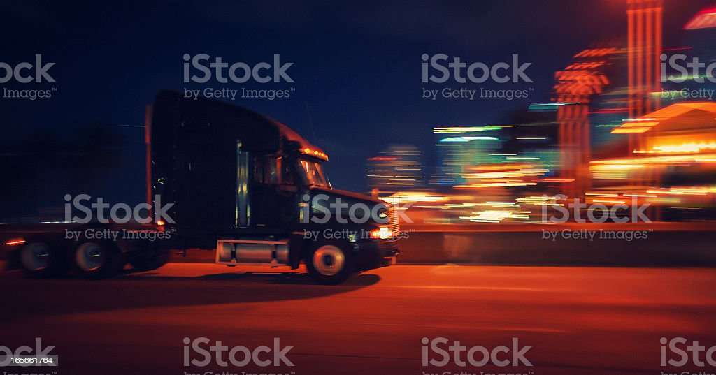 semi-truck at night royalty-free stock photo
