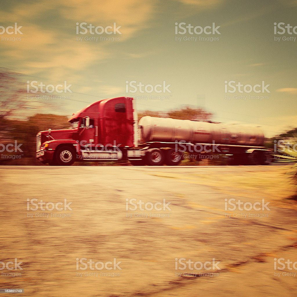 semi-truck fuel tanker royalty-free stock photo