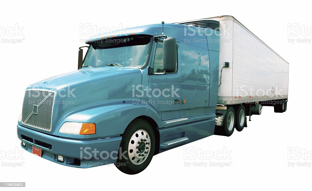 Semi-Truck Isolated on White royalty-free stock photo