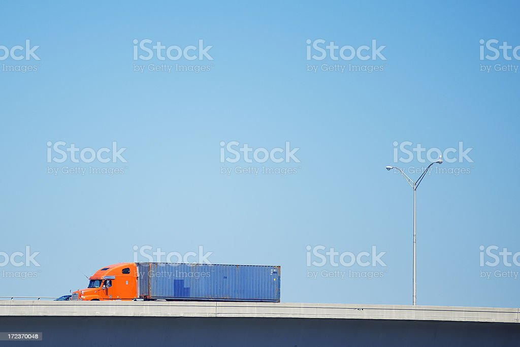 semi-truck on miami royalty-free stock photo