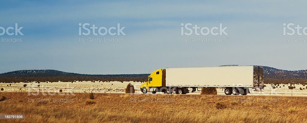 semi-truck on the highway royalty-free stock photo