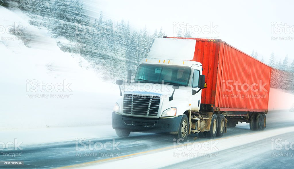 Semi-truck with container stock photo