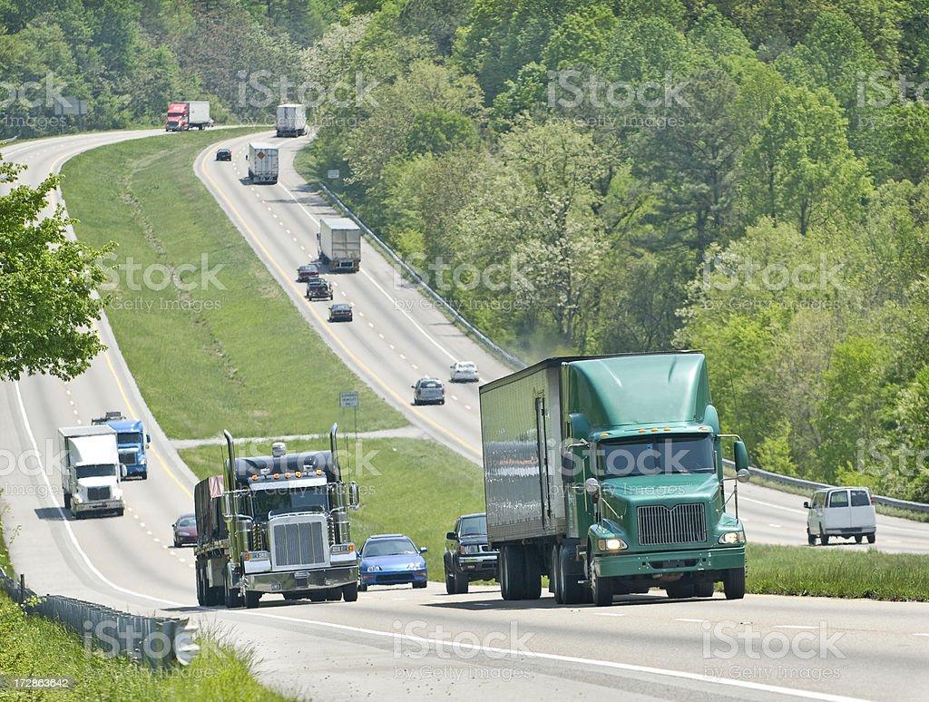 Semi-Trucks On Interstate royalty-free stock photo