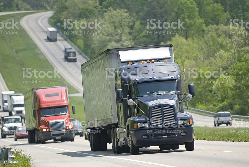 Semi-Trucks On The Interstate royalty-free stock photo
