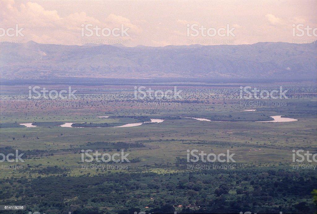 Semliki forest viewed from the slopes of Rwenzoris mountains, Uganda stock photo