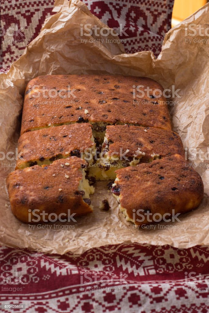 Semolina Cake with raisins stock photo