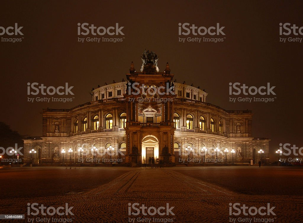 Semper Opera House by night in Dresden stock photo