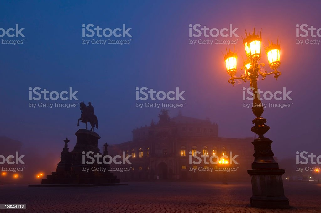 Semper Opera House in Dresden, misty light royalty-free stock photo