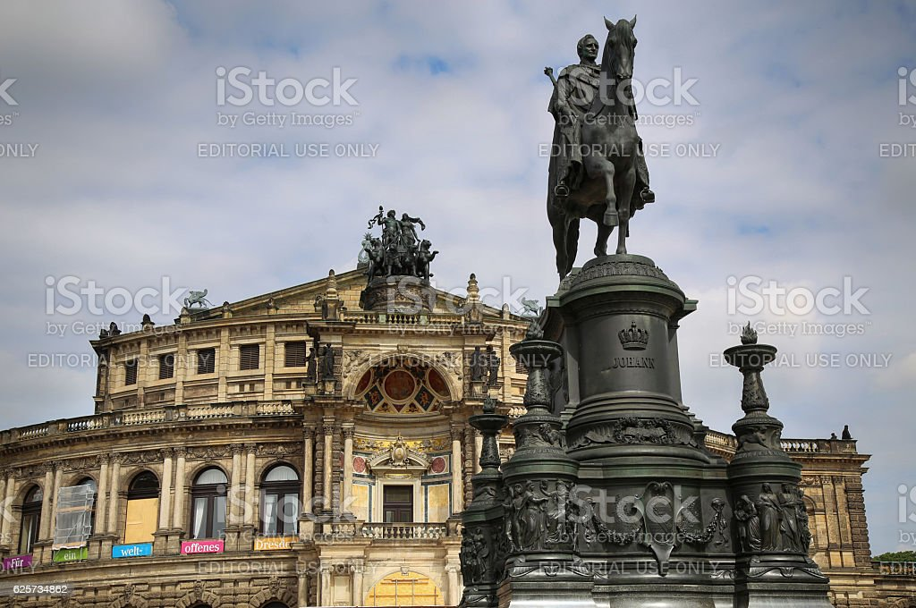 Semperoper opera (Staatskapelle Dresden) at Theaterplatz in Dresden, Germany stock photo