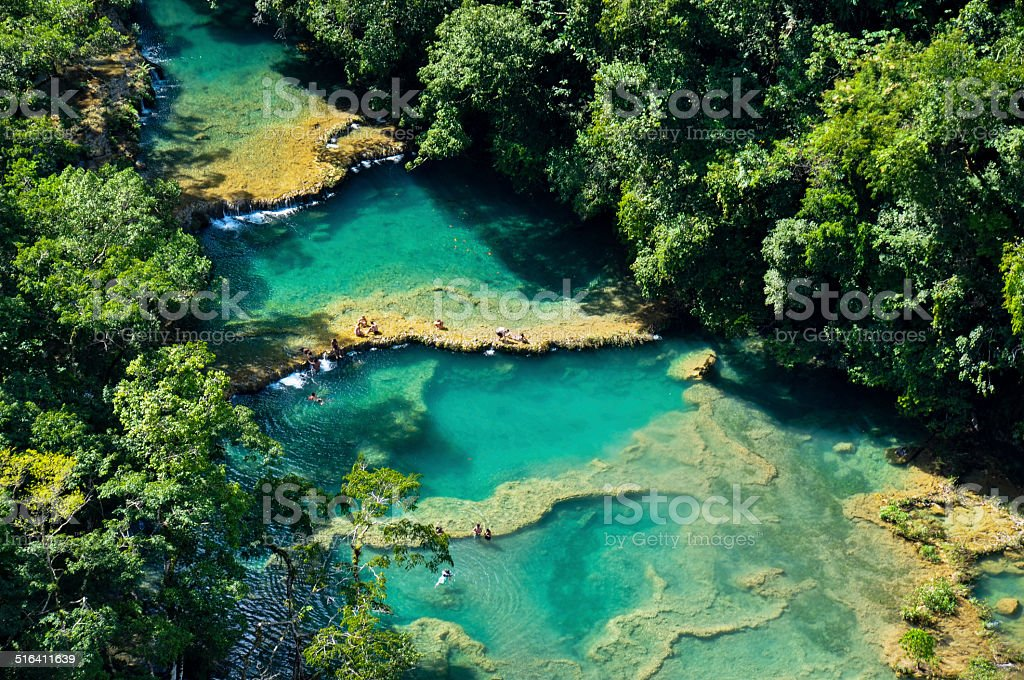 Semuc Champey natural swimming pools, Guatemala stock photo