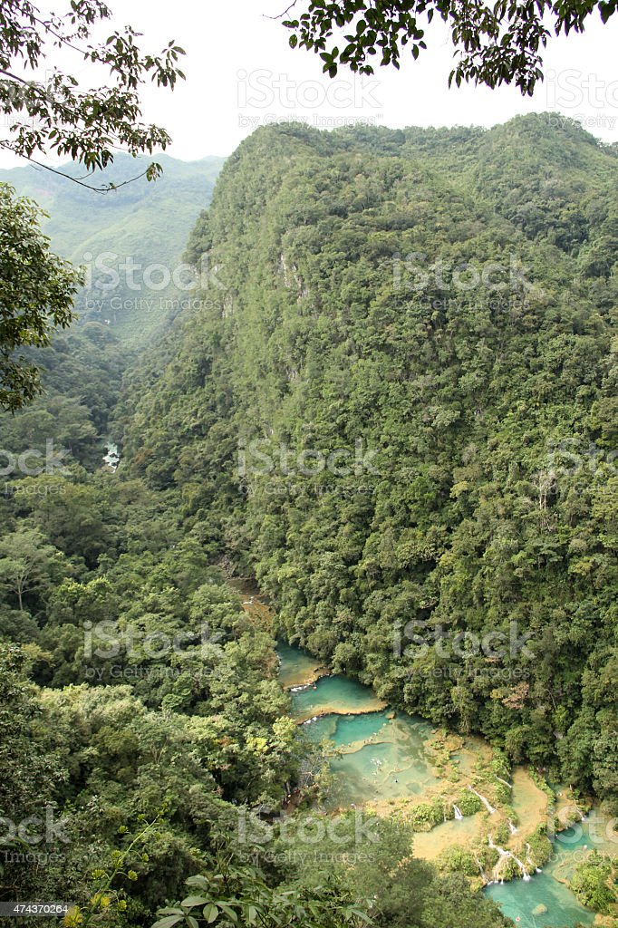 Semuc Champey waterfalls view from above stock photo