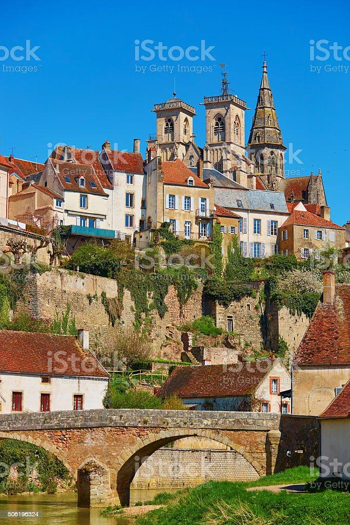 Semur-en-Auxois, a village in Burgundy, France stock photo